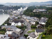Panorama van Kitsuki-stad - de prefectuur van Oita, Japan stock afbeelding