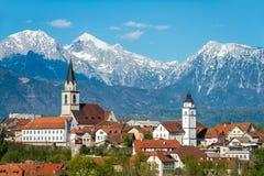 Panorama van Kranj, Slovenië, Europa stock afbeelding