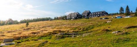 Panorama van Krkonose-landschap rond Peter Hut, Reuzebergen, Tsjechische Republiek royalty-vrije stock foto's