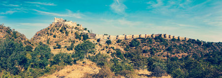 Panorama van Kumbhalgarh-fort. Rajasthan, India stock foto