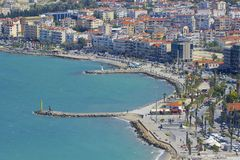 Panorama van Kusadasi in Turkije stock foto's