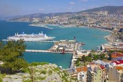 Panorama van Kusadasi in Turkije royalty-vrije stock foto
