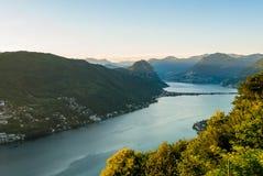Panorama van Lago Di Lugano Stock Fotografie