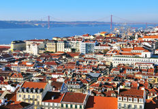 Panorama van Lissabon Stock Afbeelding
