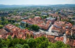 Panorama van Ljubljana, Slovenië Stock Foto's
