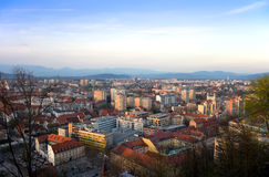 Panorama van Ljubljana in Slovenië stock fotografie