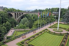 Panorama van Luxemburg, Luxemburg Stock Fotografie