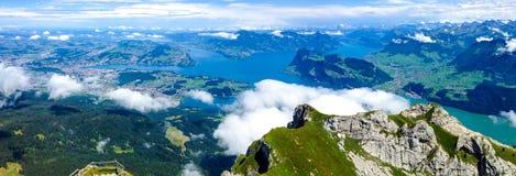 Panorama van Luzerne, Zwitserland van Onderstel Pilatus Royalty-vrije Stock Fotografie