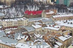 Panorama van Lviv van de hoogte Stock Foto