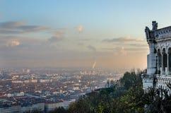 Panorama van Lyon, de herfst, Frankrijk Stock Fotografie