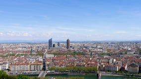 Panorama van Lyon in Frankrijk stock footage