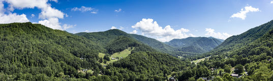 Panorama van Maggie Valley, Noord-Carolina Stock Fotografie