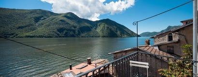 Panorama van Meer Lugano van Gandria Royalty-vrije Stock Afbeeldingen