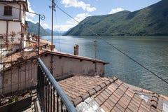 Panorama van Meer Lugano van Gandria Royalty-vrije Stock Afbeelding