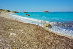 Panorama van Megali Petra Beach, Lefkada Royalty-vrije Stock Afbeelding