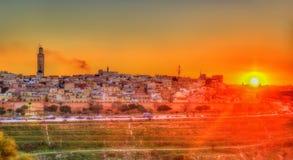 Panorama van Meknes in de avond - Marokko stock foto's