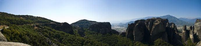 Panorama van Meteora klooster, Griekenland Stock Foto