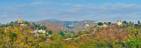 Panorama van middeleeuwse Sagaing royalty-vrije stock afbeeldingen