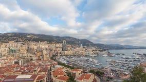 Panorama van Monaco: Het gebied en haven Hercule van La Condamine stock footage