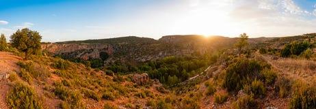 Panorama van Monasterio DE Piedra Valley royalty-vrije stock fotografie
