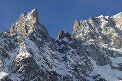 Panorama van Mont Blanc Chain in Valle D ` Aosta Stock Afbeelding