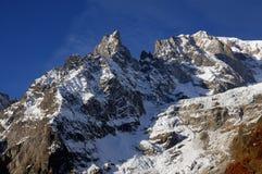 Panorama van Mont Blanc Chain in Valle D ` Aosta Royalty-vrije Stock Fotografie