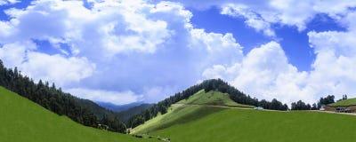 Panorama van mooi landschap van Janjehli-Vallei dichtbij Sh stock fotografie