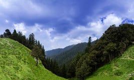 Panorama van mooi landschap van Janjehli-Vallei dichtbij Sh stock afbeeldingen