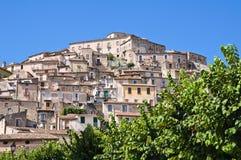 Panorama van Morano Calabro Calabrië Italië Stock Foto
