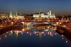 Panorama van Moskou bij dageraad. Rusland Stock Fotografie