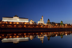 Panorama van Moskou het Kremlin in de vroege ochtend Royalty-vrije Stock Afbeelding