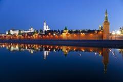 Panorama van Moskou het Kremlin in de vroege ochtend Stock Foto's