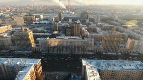 Panorama van Moskou ` s - Kutuzovskiy Prospekt stock videobeelden