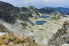 Panorama van Musalenski-meren van Musala-Piek, Rila-berg Stock Foto's