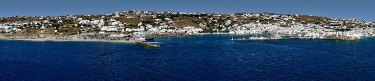 Panorama van Mykonos Stock Foto