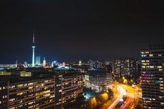 Panorama van nacht Berlijn royalty-vrije stock foto's