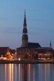 Panorama van nachtstad Stock Fotografie