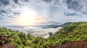 Panorama van Ngorongoro-Krater, Tanzania, Oost-Afrika Stock Foto's