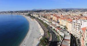 Panorama van Nice en Kust van Azuurblauw stock video