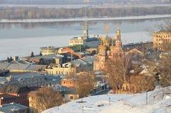 Panorama van Nizhny Novgorod in het ivening, Rusland royalty-vrije stock afbeeldingen