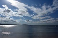 Panorama van Noordelijke stranden van Lange Ertsaderlandtong stock afbeeldingen