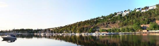 Panorama van norwagian fjord Stock Afbeeldingen