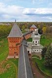 Panorama van Novgorod het Kremlin van hoogte, Veliky Novgorod, Rusland royalty-vrije stock fotografie