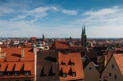 Panorama van Nuremberg, Duitse stad in noordelijk Beieren Stock Afbeelding