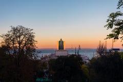 Panorama van Odessa Marine Station, het overzees en de haven royalty-vrije stock fotografie