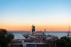 Panorama van Odessa Marine Station, het overzees en de haven stock afbeeldingen