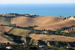 Panorama van olijfgaarden en landbouwbedrijven op rollende heuvels van Abruzzo en op de achtergrond het Adriatische Overzees stock foto