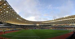 Panorama van Olympisch stadion in Kyiv Stock Foto