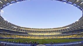 Panorama van Olympisch stadion in Kyiv (Tijdtijdspanne) stock videobeelden
