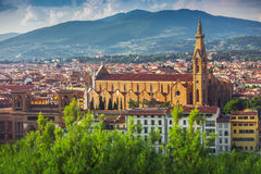 Panorama van oud Florence en de kerk Heilige Mary van de Bloem royalty-vrije stock afbeelding